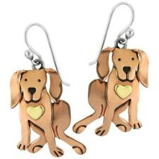 Far Fetched COCOA DOG Earrings STERLING Silver & Copper Dangle Pup + Gift Box