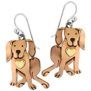 Far Fetched Jewelry COCOA DOG Earrings EW-465 STERLING Silver & Copper Dangle Pu