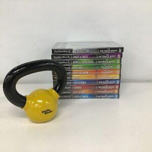 Bulk Lot of KettleWorX Workout DVDs Still Sealed & 2.25kg Mini Kettlebell #402