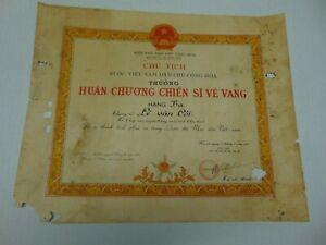Vietnam Medal Award Third Class Soldier Of Glory Cert. w/HOCHIMINH Signature