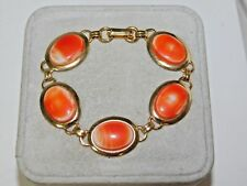 "Coral Peach Glass Scarab Style Link Gold 7"" Vintage Bracelet 1f 69"
