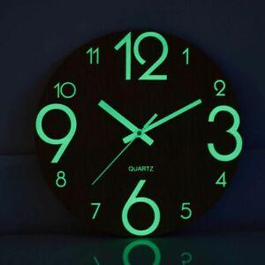 "Luminous Glow Wall Clock 12"" Size Wooden Silent Wall Hanging Watch Home Decor"