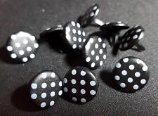 15mm Round Printed Brads Black with White Spots (Pack of 10)