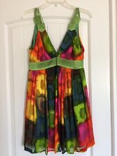 NWOT- Women's Large Holiday Christmas Dress Knee length Blue Pink Green