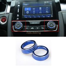 Blue Anodized Aluminum AC Climate Control Ring Knob Covers For Honda Civic 2016