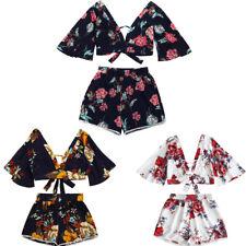 Fashion Women Two Piece Set Botanical Print Summer V Collar Top Shorts Beachwear