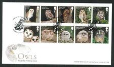 2018 FDC - Owls Set of 10  -Owls  Folkestone Kent  Postmark sent post free