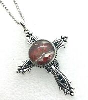Cross Pendant Necklace Handmade 18mm Snap Stainless Steel  Chain Gift Jewelry