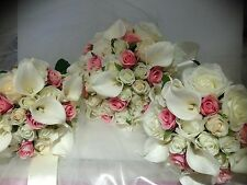 IVORY WHITE PINK CALLA LILY VINTAGE 8 PCE WEDDING ROSE BOUQUET ARTIFICAL  FLOWER