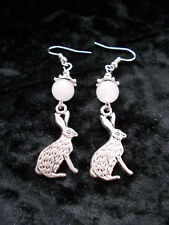 Winter Hare Earrings Frosted Jade Beads Yule Solstice Christmas