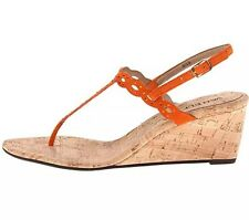 VANELI Womens Mariem Orange Suede Wedges Sandals 9.5 W (Wide)