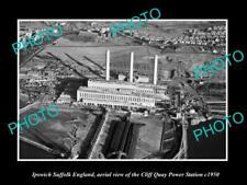 OLD 8x6 HISTORIC PHOTO OF IPSWICH SUFFOLK ENGLAND THE C/Q POWER STATION 1950