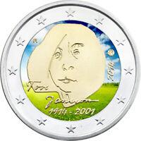 2 Euro Gedenkmünze Finnland 2014 coloriert m. Farbe / Farbmünze Tove Janson