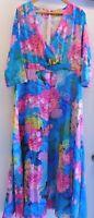 Women's OC Order Plus Floral Print V Neck Dress Long 5XL NWOT