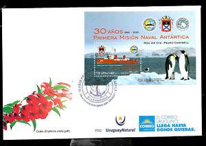 URUGUAY 2021 ANTARCTICAEXPEDITION ANIV,SHIP,PENGUIN BIRDS S/SHEET FDC