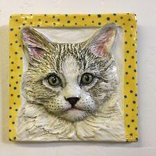 Longhair Cat Ceramic Tile Handmade 3d Pet Portrait Animals Sondra Alexander Art