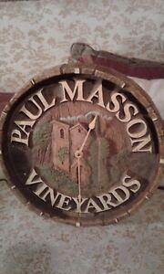 Paul Mason Vineyards Wine Barrel Clock- Wall-Rustic