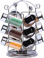 Stainless Steel Spice Rack with 12 Glass Jars Bottles Strong Quality Spice Jar