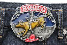 Men Women Silver Rodeo Cowboy Western Belt Buckle Bull Hat Texas Style Red Blue