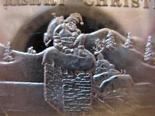 1-OZ .999 SILVER CHRISTMAS SANTA & SLEIGH ON ROOF TOP  ENGRAVABLE  BAR + GOLD
