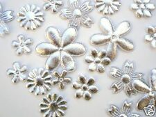 60 Assorted Flower Mix Applique/Christmas/Daisy/Trim/Craft/Big+Small H198-Silver