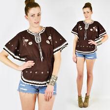 Vtg 70s Boho Hippie Festival Ethnic Crochet Caftan Tunic Shirt Blouse Top S M L