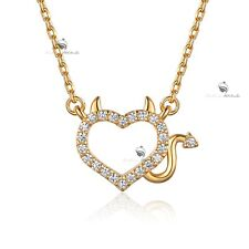 18k YELLOW gold gp made with SWAROVSKI CZ heart devil pendant necklace elegant