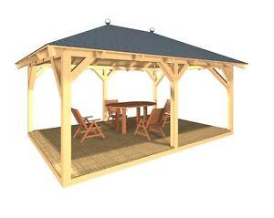 Holzpavillon verzapft Gartenpavillon Pavillon Gartenhaus Grillhütte Gartenlaube