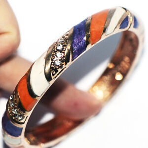 Elegant Womens Bangle Bracelets Gold Jewelry Crystal Cuff Open Bracelet 70mm