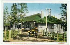 Postcard- Yellowstone National Park, West Yellowstone Union Pac. Depot by Haynes
