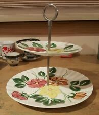 BLUE RIDGE Hand Painted Floral Tiered Dessert Plates