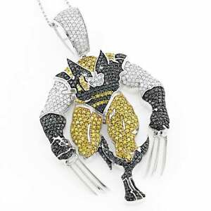 Shiny Black With Yellow & White Zircon X MEN Superhero Men's Hip-Hop Pendants