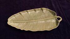 """Porcelain Green Leaf Shaped Serving Platter made in Portugal 15"""" x 7.5"""""""