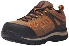 Skechers for Work Men's Dunmor Comp Toe Work Shoe Brown Suede/Orange Trim sz 7.5