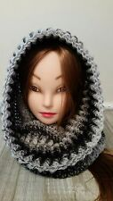 Black gray chunky hat hooded cowl scarf scoodie crochet womans  hand made new
