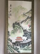 Antique Chinese Hanging Silk Scroll RARE signed  aprox 52in.