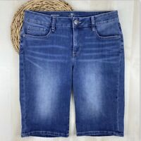 St. Johns Bay Womens Size 10 Denim Stretch Medium Wash Bermuda Blue Jean Shorts