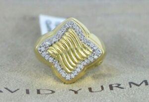 $4,750 Retired David Yurman 18K Yellow Gold Quatrefoil Diamond Ring Size 6.5