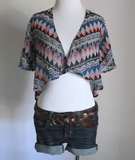 Juniors Geometric Southwest Crop Drape Open Cardigan Shawl Kimono Wrap Top XS S