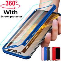 360° Full Cover Case + Tempered Glass For Xiaomi Mi 9 8 A1 A2 Lite Pocophone F1