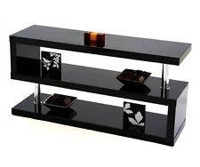 Designer Square Gloss Black TV/Shelving Unit Living Room Bedroom Office