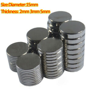 10pcs Round Magnets Dia 15mm x 2/3/5mm Rare Earth Neodymium Strong Crafts Magnet