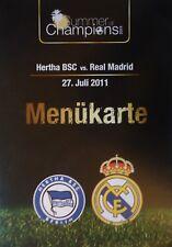 Menükarte Friendly 27.7.2011 Hertha BSC Berlin - Real Madrid