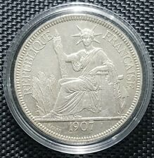 1907 INDO-CHINE FRANCAISE PIASTRE DE COMMERCE Silver Coin Ø 37mm(+1 coin)#10707