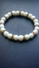 Elegant White Pearl Beaded Bracelet with Gold Rhinestone Spacerbeads