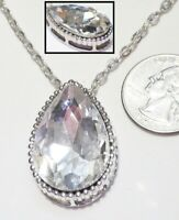 Striking Large Faceted Teardrop Crystal Pendant Necklace, Silvertone Chain 18""