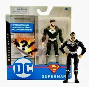 """2020 DC Heroes Unite Action Figure: SUPERMAN (BLACK SUIT) 4"""" Action Figure"""