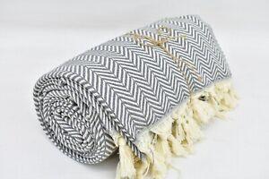 Turkish Blanket, Gray Blanket, 78x86, Turkish Throw Blanket, Herringbone Blanket