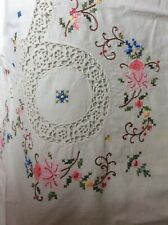 Beautiful Handmade,  Embroidered/crocheted ,Greek Tablecloth.