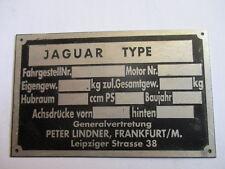Typenschild Schild Jaguar E XK XKSS MK 2 5  type Peter Lindner Händlerschild s27